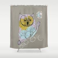 scandinavian Shower Curtains featuring Scandinavian owl by CASTELBARCO DESIGN