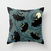 bats Throw Pillows featuring Bats by Rceeh