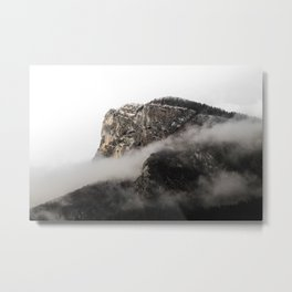 Dark rocky cliff on a cold winter morning Metal Print