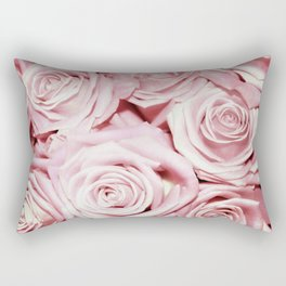 Beautiful bed of pink roses- Floral Rose Flowers Rectangular Pillow