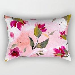 Autumn magenta pink coral green watercolor floral splatters Rectangular Pillow