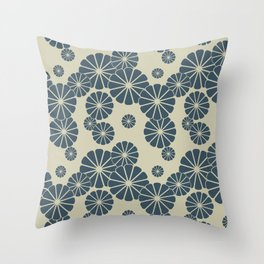 Blue Floral Japanese Pattern 2 Throw Pillow
