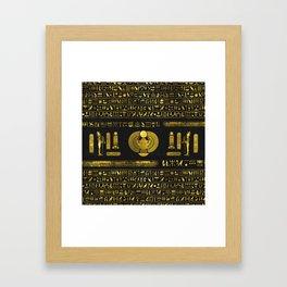 Golden Egyptian Scarab Ornament  on black leather Framed Art Print