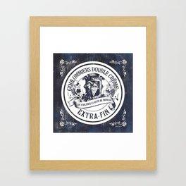 Indigo Vintage French Cheese Label 2 Framed Art Print