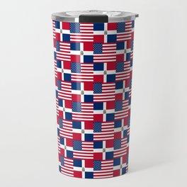 Mix of flag: usa and dominican republic Travel Mug