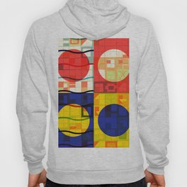 Red Blue Yellow Geometric Sun Abstract Art Hoody