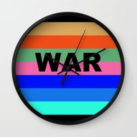 war Wall Clocks featuring WAR by Tillus