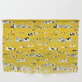 Tall ships in yellow Wall Hanging