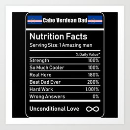 Cabo Verdean Dad Nutrition Facts Art Print