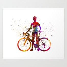 Woman triathlon cycling 02 Art Print