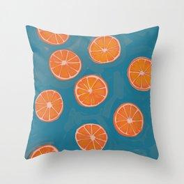 hand-painted california orange slices Throw Pillow