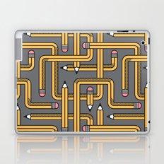 Pencil Maze Pattern pastel grey yellow Laptop & iPad Skin
