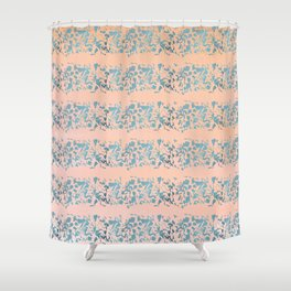 Coral Teal Watercolor Abstract Geometric Stripes Shower Curtain