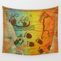 native american Wall Tapestries featuring Cave Dwelling Native American  by BohemianBound
