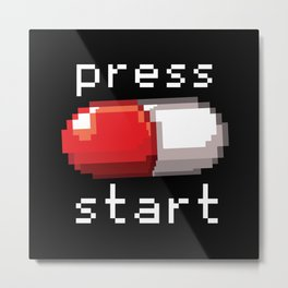 Press Start Retro Gamer Game Shirt Metal Print