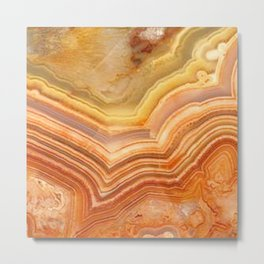 Orange Ripple Mineral Surface Metal Print