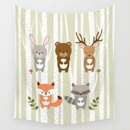 Cute Woodland Forest Animals Wall Tapestry
