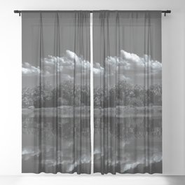River, forest, dramatic clouds, black and white, New York City (2020-5-GNY133) Sheer Curtain