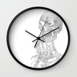 Thinking Skeleton (Black and White) Wall Clock