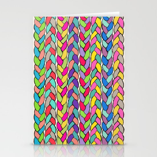 Rainbow Braids Stationery Cards