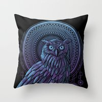 nouveau Throw Pillows featuring Owl Nouveau II by Jorge Garza