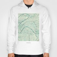 paris map Hoodies featuring Paris Map Blue Vintage by City Art Posters