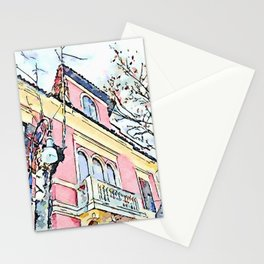 Camerata Nuova: pink house Stationery Cards