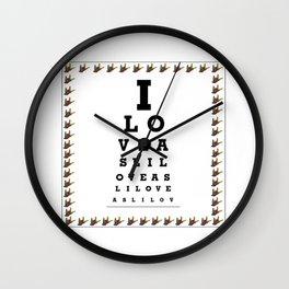 I LOVE ASL EYE CHART Wall Clock