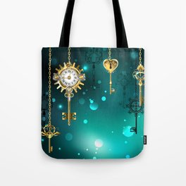 Antique Keys on Green Background ( Steampunk ) Tote Bag
