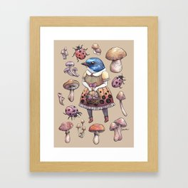 Mushroom Pickers - Lady Blue Framed Art Print