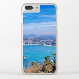 La Concha Bay seen from Igeldo Mount. Clear iPhone Case