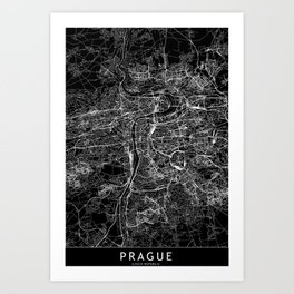 Prague Black Map Art Print
