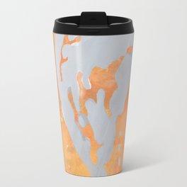 Heart/Dicentra stencil on orange Travel Mug