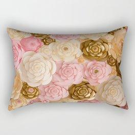 Paper Flowers x Gold Pink Cream Rectangular Pillow