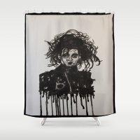 edward scissorhands Shower Curtains featuring  Scissorhands by jennie tudor gray
