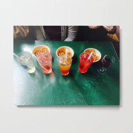 Colorful Happy Hour Drinks and Pretzels Metal Print