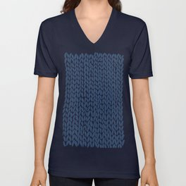 Hand Knit Navy Unisex V-Neck