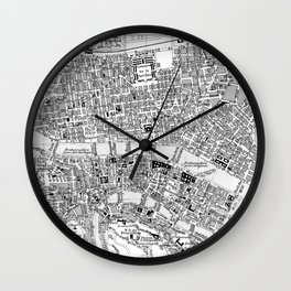 Vintage Map of Lyon France (1888) BW Wall Clock