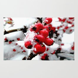 Bright Red Berries Rug