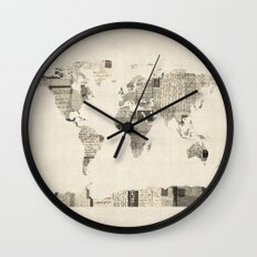 Map of the World Map from Old Postcards Wall Clock
