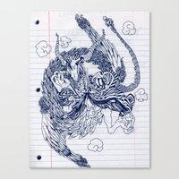 notebook Canvas Prints featuring notebook dragon by Jordan Piantedosi
