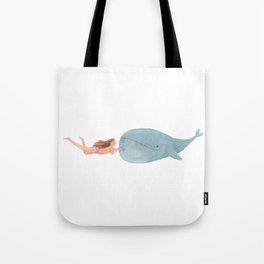 Hugging a whale! Tote Bag
