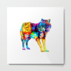 Wolf of Triangles Metal Print