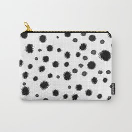 Ink drops splats splots inky texture painting abstract black and white minimal modern dorm college  Carry-All Pouch