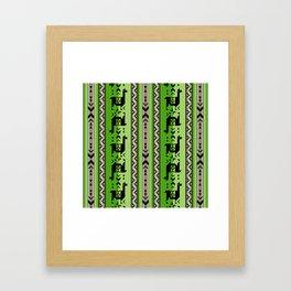 Llamas_Green and WarmGray Framed Art Print