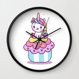 Cute Little Unicorn on Cupcake Design on white Wall Clock