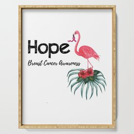 Flamingo Cancer Breast Cancer Awareness Gif Serving Tray