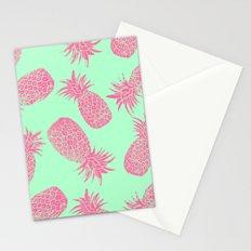 Pineapple Pattern - Mint & Crimson Stationery Cards