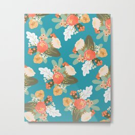 Turquoise Peach Floral Metal Print