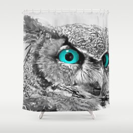 Black and White Great Horned Owl w Aqua Eyes A174 Shower Curtain